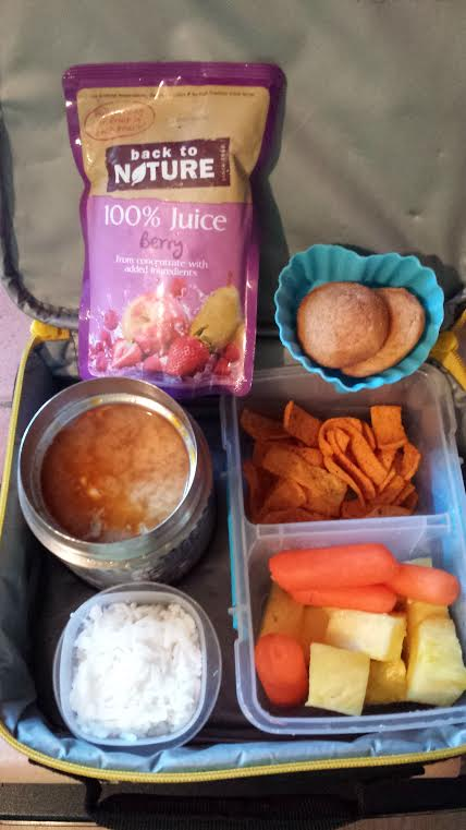 Homemade miso soup with leftover chicken shreds and silken tofu chunks packed in a Thermos, rice to put in soup, pineapple, carrots, Fritos, and WOW brand GF Snickerdoodles.